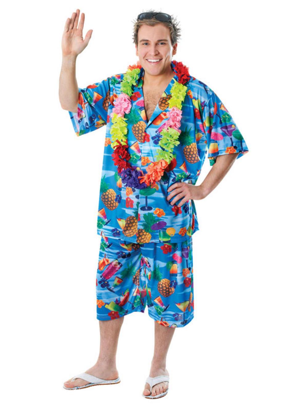Mens hawaiian shirt stag blue retro beach tropical aloha for Hawaiian shirt fancy dress