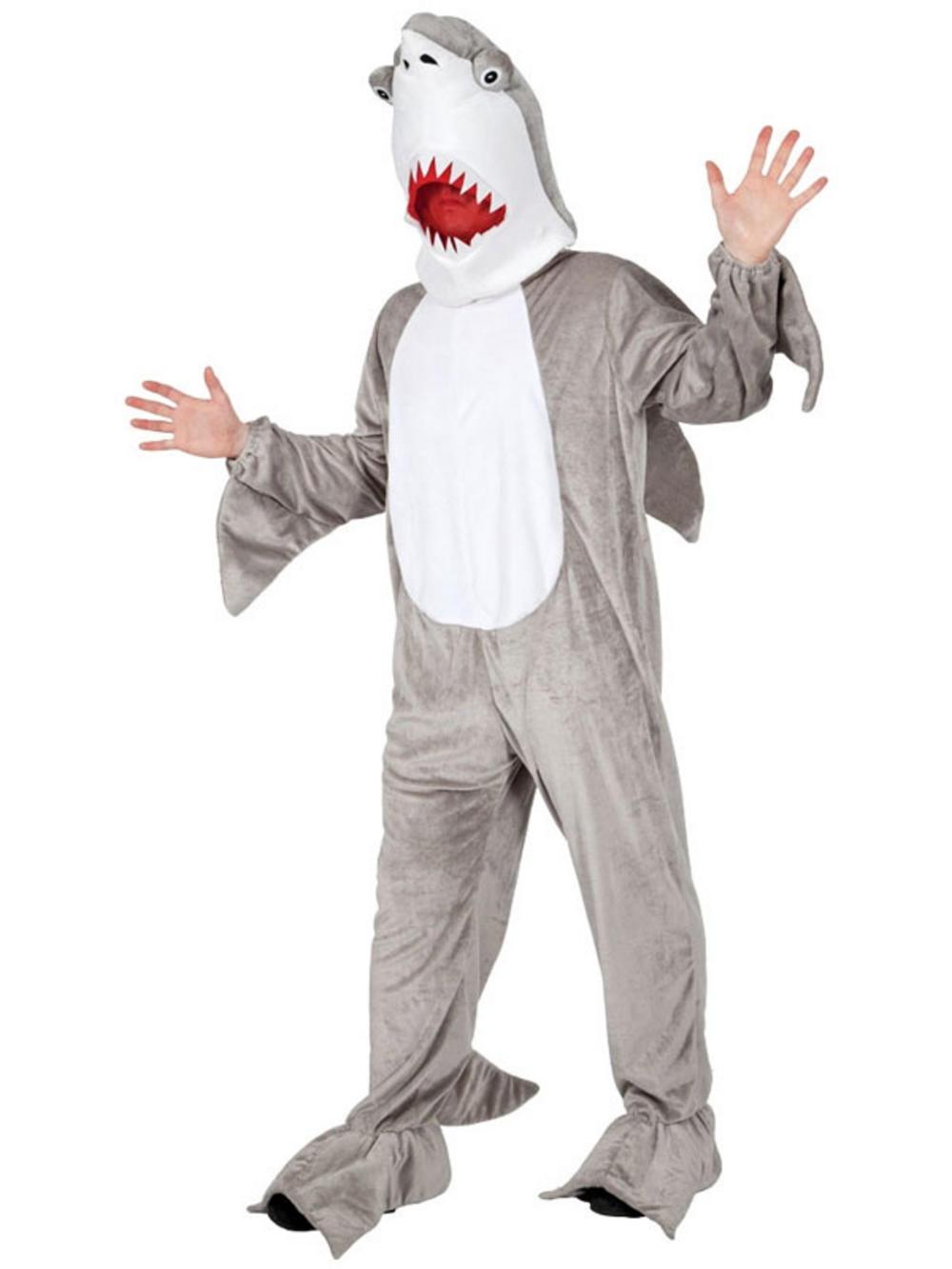 Adult shark costume jaws attack mascot fish fancy dress for Fish head costume
