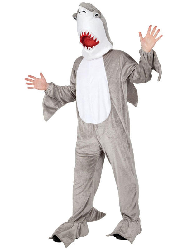 Adult shark costume jaws attack mascot fish fancy dress for Fish costume adult