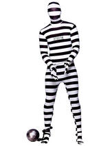 View Item Skinz Convict Adult Stag Fun Halloween Stretch Lycra Bodysuit Height 5'2 - 6'2