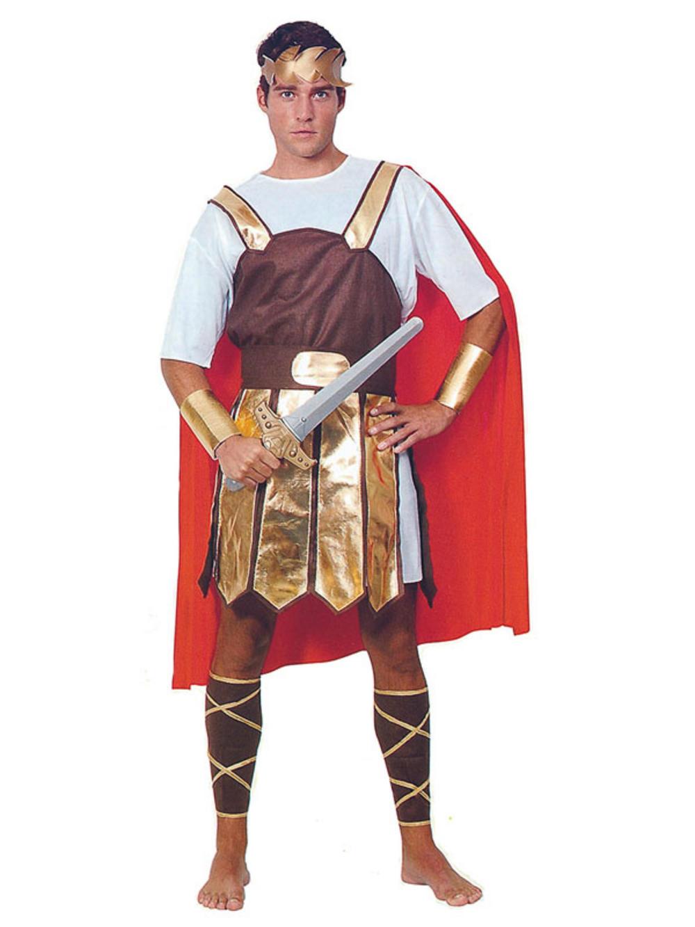 Mens Roman Soldier Gladiator Toga Greek Trojan Adult Fancy ...