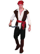 View Item Mens Caribbean Pirate Captain Costume Adult Fancy Dress Outfit Halloween Party