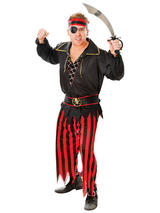 View Item Adult Pirate Costume Mens Carribean Buccaneer Fancy Dress Outfit Swashbuckler