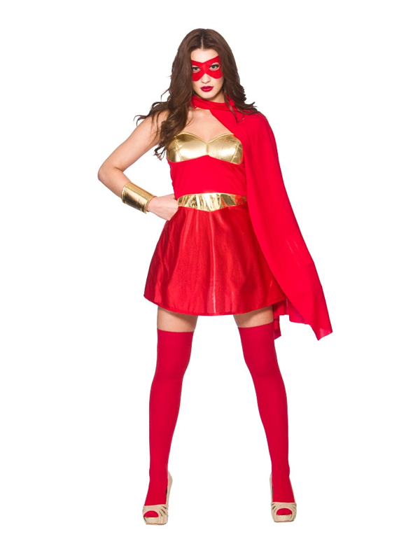 Red gold ladies fancy dress comic book hot super hero - Liste super heros femme ...