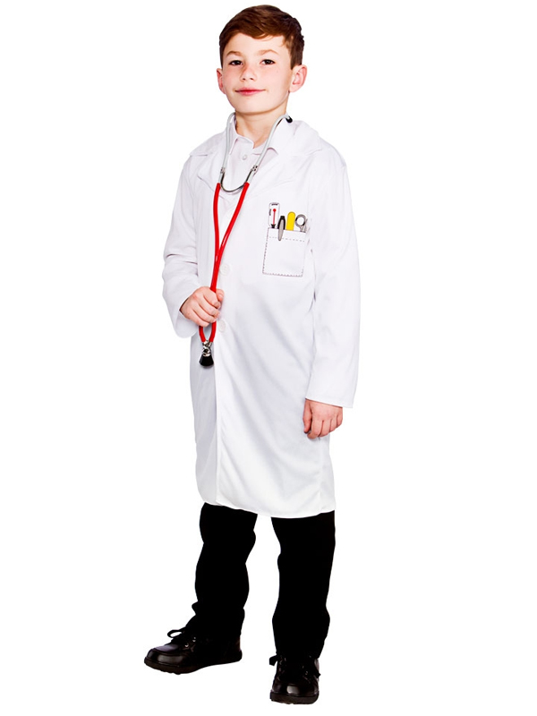 Child Kids White Lab Coat Doctors Surgeon Boys Girls Fancy Dress ...