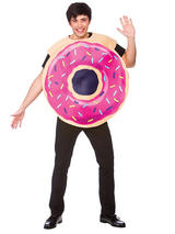 View Item Adult Pink Sprinkled Doughnut Donut Sweet Fun Food Fancy Dress Party Costume New