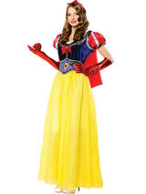 View Item Adult Snow White Princess Fancy Dress Costume & Cape Fairy Tale Storybook Ladies