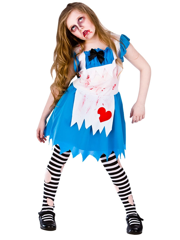 Childrens Alice In Zombieland Horror Fancy Dress Up Party Halloween Costume New
