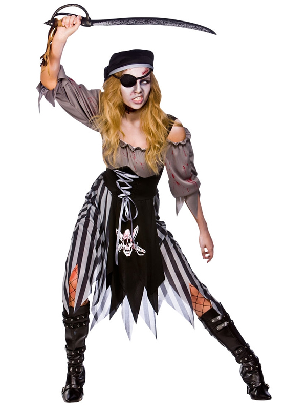 Ladies Zombie Pirate Costume Cutthroat Ghost Halloween Fancy Dress Adult Outfit | EBay