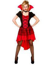 Glamorous Vampire Lady Halloween Ladies Fancy Dress Womens Vampiress Costume