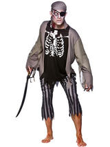 View Item Zombie Pirate + Eyepatch Adults Fancy Dress Halloween Horror Costume Outfit Mens