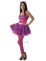 View Item Adult Cheshire Cat Dress Leggings Fancy Dress Costume Alice In Wonderland Ladies