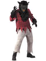 View Item Werewolf Mask Gloves & Shirt Mens Halloween Horror Fancy Dress Costume Faux Fur