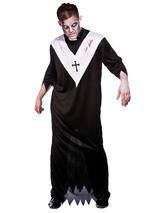 View Item Mens Adults Zombie Priest Horror Scary Fancy Dress Halloween Costume Outfit New