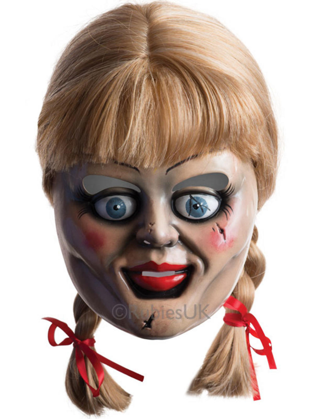 Adult Annabelle Doll Mask & Wig Creepy Scary Halloween Fancy Dress ...