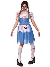 View Item Ladies Zombie Country Girl Fancy Dress Up Party Role Play Halloween Costume New