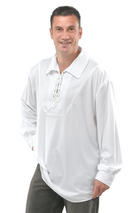 View Item Men's Pirate Gothic Medieval Musketeer Shirt White Fancy Dress Standard Lace New