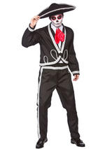 View Item Mens Deluxe Day Of The Dead Mariachi Costume & Sombrero Adult Mexican Festival