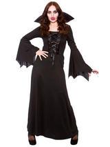 Dark Vampiress Queen Ladies Sorceress Fancy Dress Costume Halloween Womens 6-28