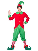 Elf Costume Mens Adult Christmas Fancy Dress Santa Helper Outfit Workshop 37-48""