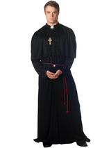 View Item Adult Mens Holy-Er Than Thou Priest Vicar Robe Fancy Dress Halloween Costume New