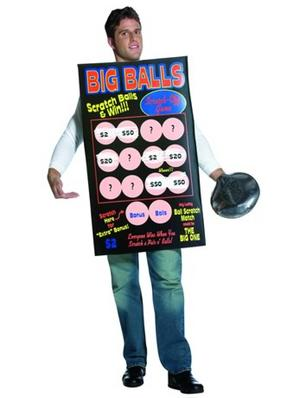 Adult Big Ball Scratch Card Off Lottery Bingo Fancy Dress Fun Costume STD
