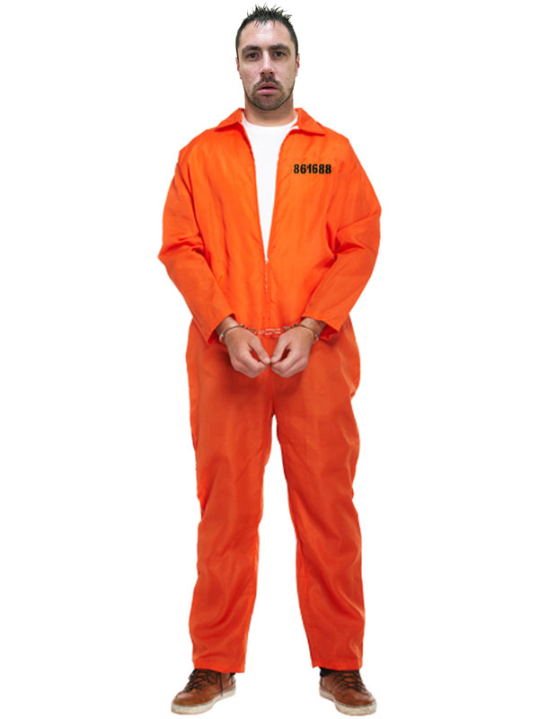 Mens Prisoner Overall Orange Jumpsuit Convict Stag Do Party Fancy ...
