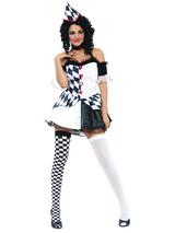 Ladies Halloween Medieval Harlequin Jester Joker Clown New Fancy Dress Costume