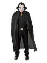 "View Item Adults Long Black 56"" Cape Cloak Vampire Dracula Fancy Dress Gothic Halloween"