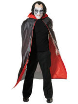 View Item Mens Long Black Red Cape Cloak Vampire Dracula New Fancy Dress Gothic Halloween