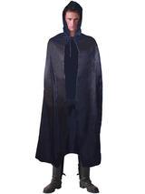 View Item Adult Black Hooded Satin Cape Cloak Vampire Dracula Fancy Dress Gothic Halloween
