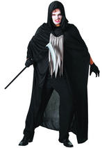 View Item Black Hooded Cape Halloween Fancy Dress Adult Costume Death Reaper Demon Vampire