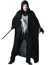 View Item Black Hooded Cape Halloween Fancy Dress Adult Costume Death Reaper Demon Vampire