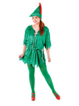 View Item Ladies Green Elf Costume Peter Pan Robin Hood Adult Unisex Fancy Dress Christmas