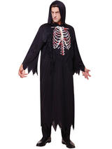 View Item Mens Skeleton Grim Reaper Costume Robe Adult Death Horror Halloween Fancy Dress