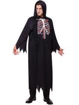 View Item Mens Skeleton Grim Reaper Costume Robe Adult Death Horror Halloween Fancy Dress