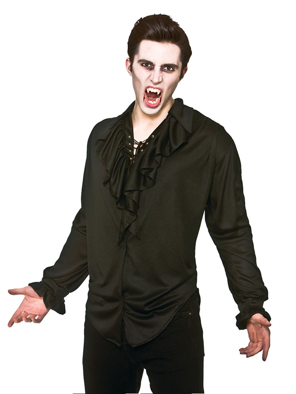 Adult-Unisex-Pirate-Vampire-Fancy-Dress-Shirt-Lace-Up-Front-Halloween-Black-New