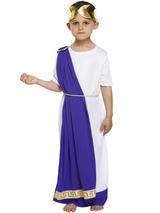 View Item Boys 7-12Yr Roman Emperor King Toga Caesar Greek Child Kids Fancy Dress Costume