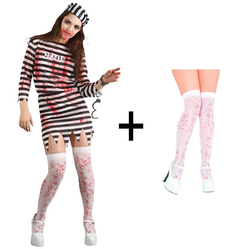 Handcuffs New Stockings Ladies Zombie Convict Halloween Fancy Dress Costume