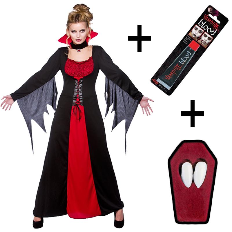 Fangs Ladies Classic Vampire Fancy Dress Vampiress Halloween Costume Blood