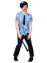 View Item Zombie Policeman Costume Cop Police Man Halloween Adult Mens Fancy Dress Outfit