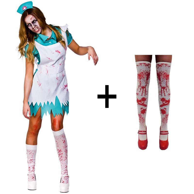 Ladies-Halloween-Bloody-Zombie-Nurse-Fancy-Dress-Costume-Stockings-Blood-New