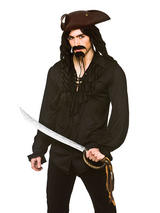 View Item Adult Unisex Pirate Vampire Fancy Dress Shirt Lace Up Front Halloween Black New