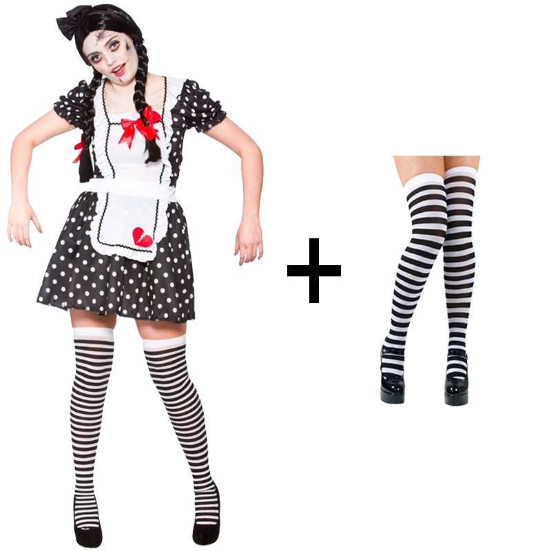 MakeUp Ladies Broken Zombie Rag Doll Halloween Fancy Dress Costume Stockings