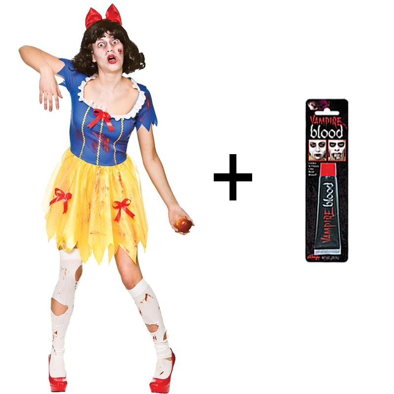 Stockings New Adult Ladies Zombie Snow White Halloween Fancy Dress Costume
