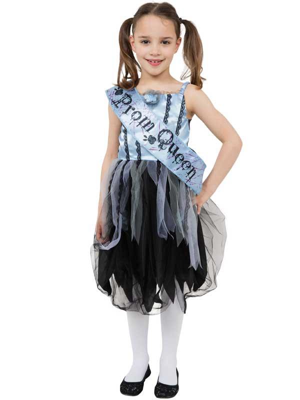 Ragazze sanguinoso Prom REGINA Scuola Costume Halloween Fancy Dress Outfit Kids Zombie