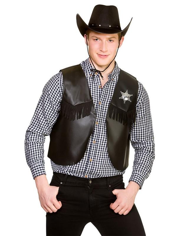 Adulti Cowboy Sceriffo Panciotto /& Badge Gilet Selvaggio West Costume Libro Settimana