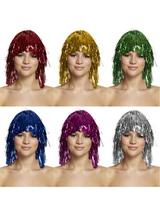 Cyber Metallic Tinsel Wig Fancy Dress Costume Disco Rave Hen Night Party Clown