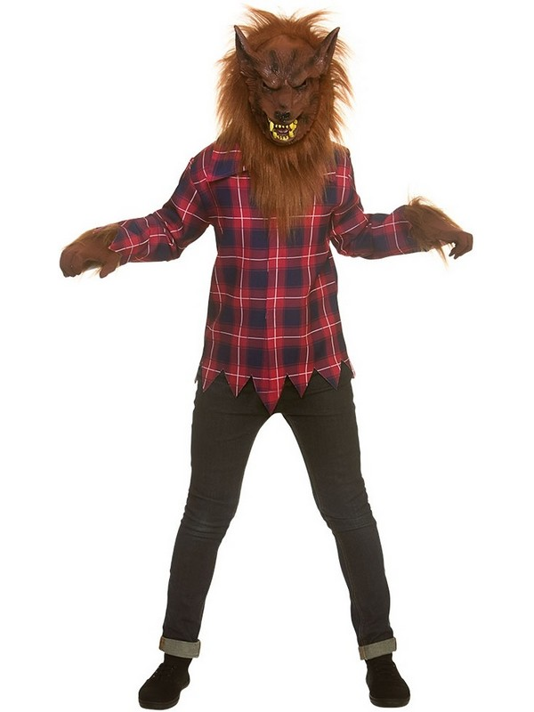 Mask /& Gloves Childs Werewolf Fancy Dress Halloween Kids Horror Costume Kit Top