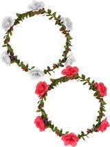 View Item Hawaiian Flower Wreath Headband Fancy Dress Hula Luau Party Hippy Peace Festival